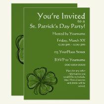 Shamrock St. Patrick's Day Party Invitation