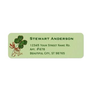Shamrock St. Patrick's Day Return Address Labels