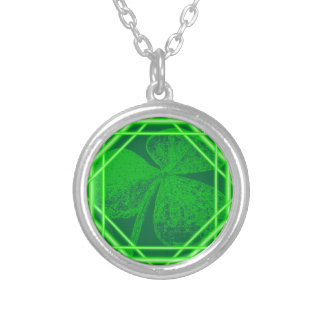 Shamrock Stamp (Encased) by Kenneth Yoncich Silver Plated Necklace