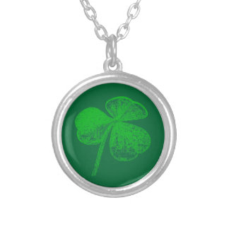 Shamrock Stamp (Plain) by Kenneth Yoncich Silver Plated Necklace