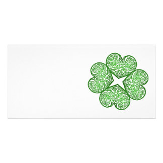 Shamrock Swirls Photo Greeting Card