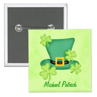 Shamrock Top Hat St. Patrick's Name Badge Pin