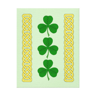 Shamrock Trio and Knotwork Bands Canvas Print