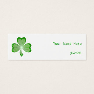 Shamrock White side skinny green back Mini Business Card