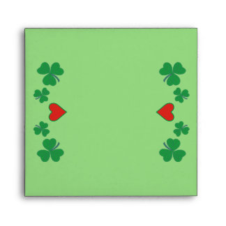 Shamrock with heart Square Envelope