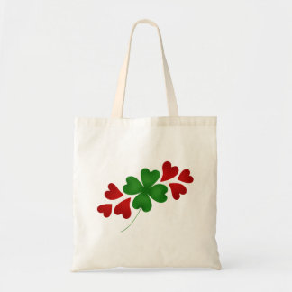 Shamrock with hearts canvas bags