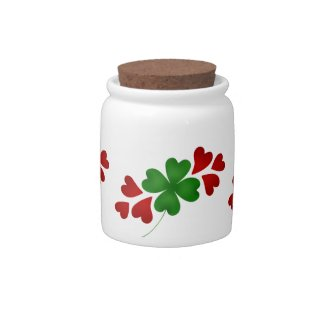Shamrock with hearts candy jar