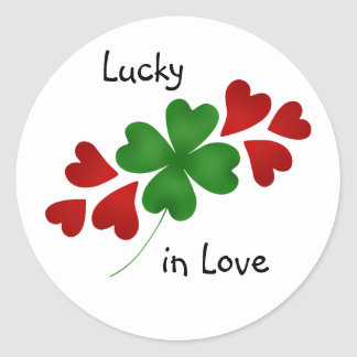 Shamrock with hearts, Lucky in Love Round Sticker