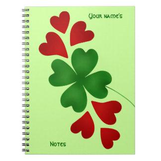 Shamrock with hearts St Patricks Day Notebook