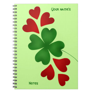 Shamrock with hearts St Patricks Day Spiral Notebook