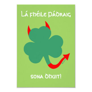 Shamrock with Horns Hellraising St Pat's Party Card