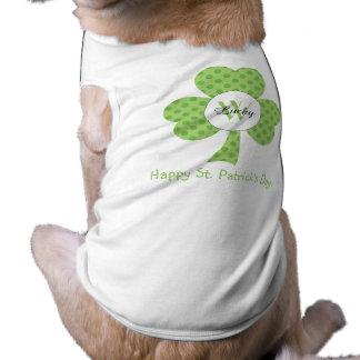 Shamrock with Polka dots and custom Monogram Name T-Shirt