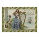 Shamrock Woman Harp Ship Tower Irish Setter Card