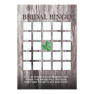 Shamrock Wood Background Bridal Shower Bingo Cards
