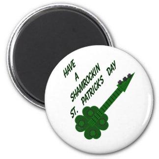 Shamrockin Guitar for St. Patrick's Day 2 Inch Round Magnet
