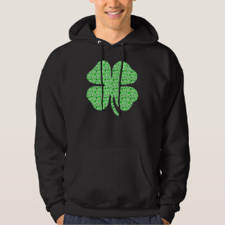 Shamrocks 4 leaf clovers.png hooded sweatshirts