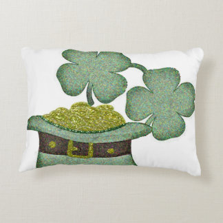 shamrocks and a hatful of gold for Saint Patricks Accent Pillow