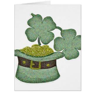 shamrocks and a hatful of gold for Saint Patricks Card