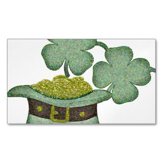 shamrocks and a hatful of gold for Saint Patricks Magnetic Business Card
