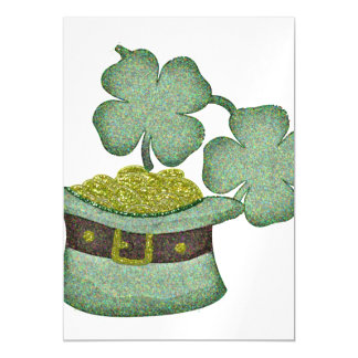 shamrocks and a hatful of gold for Saint Patricks Magnetic Card
