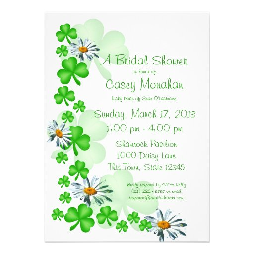 Shamrocks and Daisies Bridal Shower Personalized Announcements