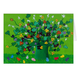 Shamrocks and Flowers and Chicks Card