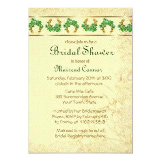 Shamrocks and Gold Irish Bridal Shower 5x7 Paper Invitation Card