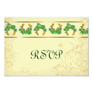 Shamrocks and Gold Irish RSVP 3.5x5 Paper Invitation Card