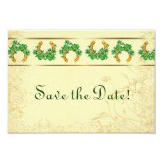 Shamrocks And Gold Irish Save The Date Card at Zazzle