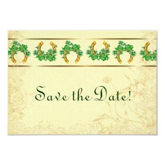 Shamrocks and Gold Irish Save The Date 3.5x5 Paper Invitation Card