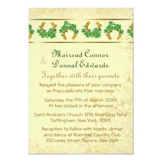 Shamrocks and Gold Irish Wedding Card at Zazzle