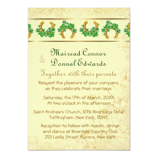 Shamrocks And Gold Irish Wedding Card at Zazzle