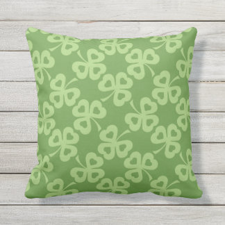 Shamrocks and Hearts Pattern Outdoor Pillow
