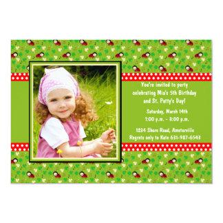Shamrocks and Ladybugs - Photo Birthday Party Invi Card