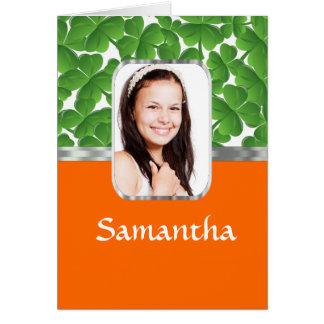 Shamrocks and orange card