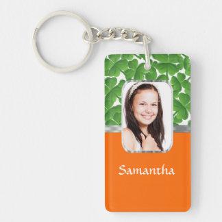 Shamrocks and orange keychain