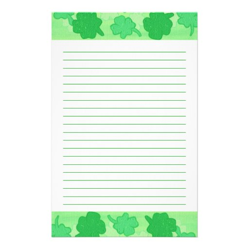 Shamrocks Collage Lined Stationery