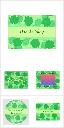 Shamrocks Collage Wedding Invitations Set