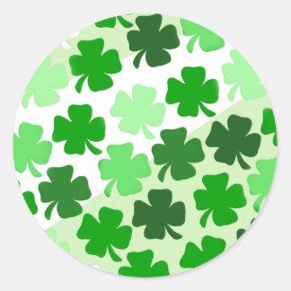 Shamrocks Envelope Seals - Green Classic Round Sticker