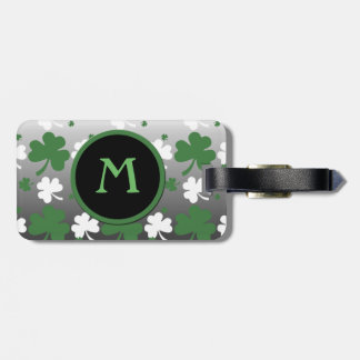 Shamrocks, Green and White on Gradated Field Bag Tag