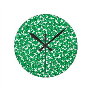 shamrocks, Ireland, Irish, proud to be Irish Round Clock