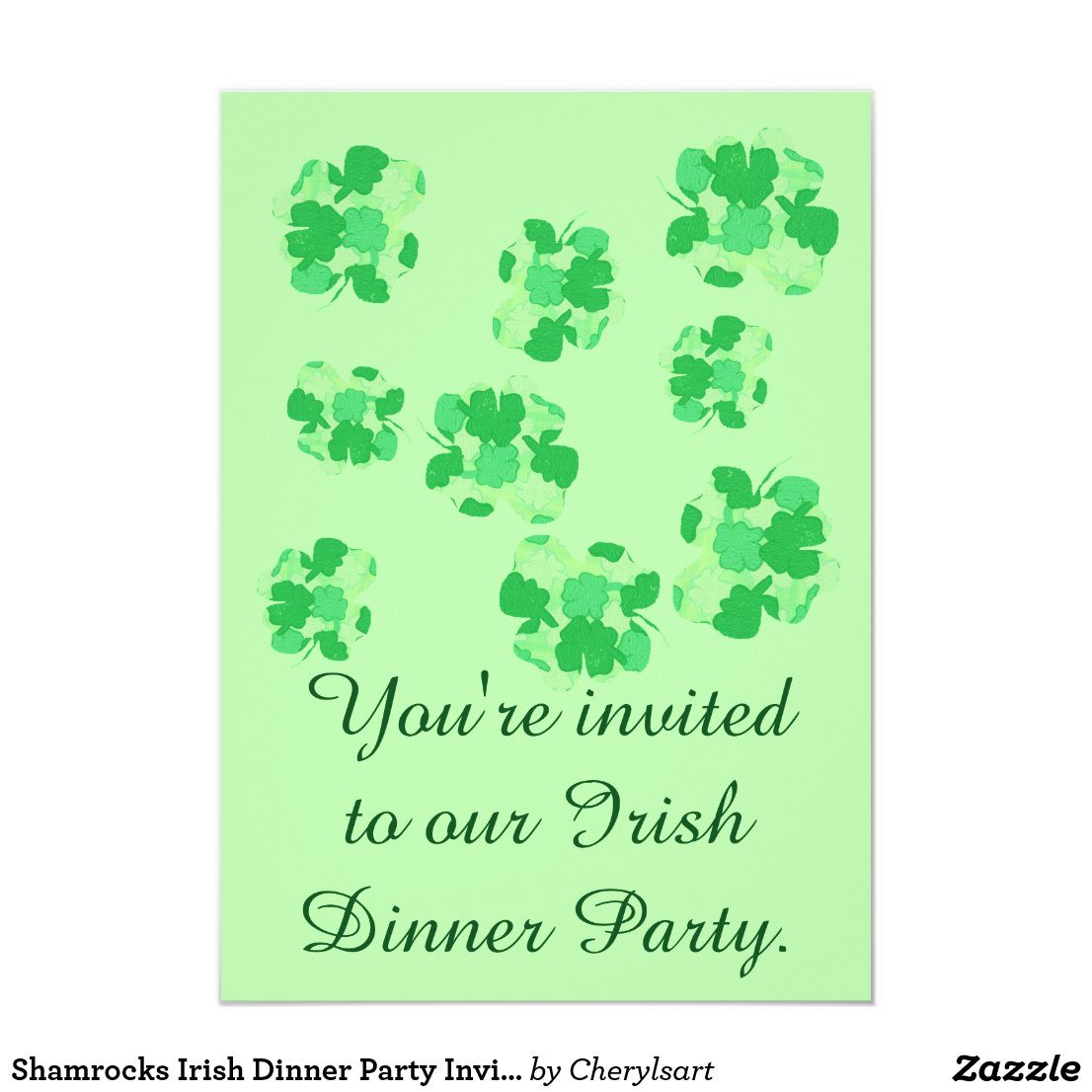 Shamrocks Irish Dinner Party Invitations