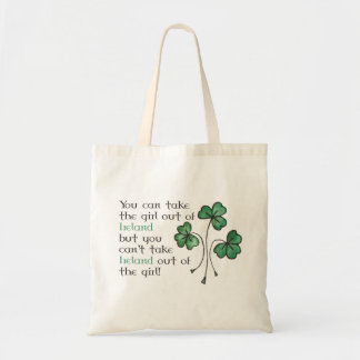 Shamrocks Irish Girl Quote Budget Tote Bag