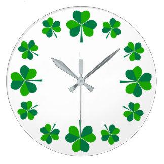 Shamrocks Large Clock