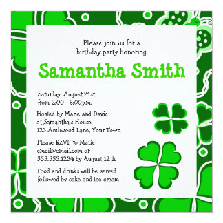 Shamrocks -  Lucky Four Leaf Clovers & Butterflies Card