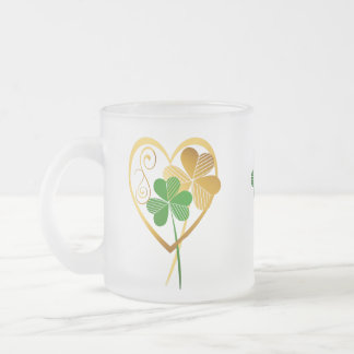 Shamrocks Of My Heart 10 Oz Frosted Glass Coffee Mug