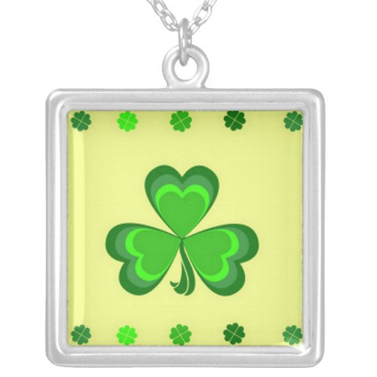 Shamrocks on Gold Silver Plated Necklace