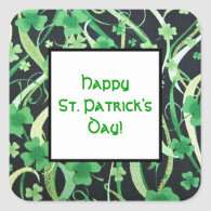 Shamrocks on the Wind 1 Square Stickers