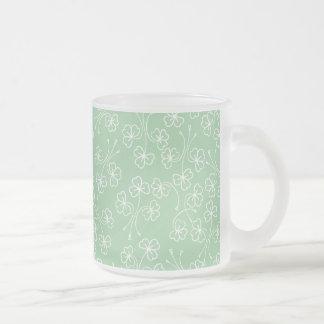 Shamrocks Outlined in White on Green Glass Mug