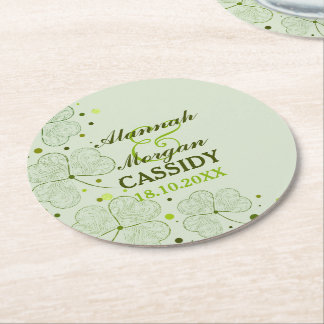 Shamrocks Polka Dots Irish Wedding Paper Coasters